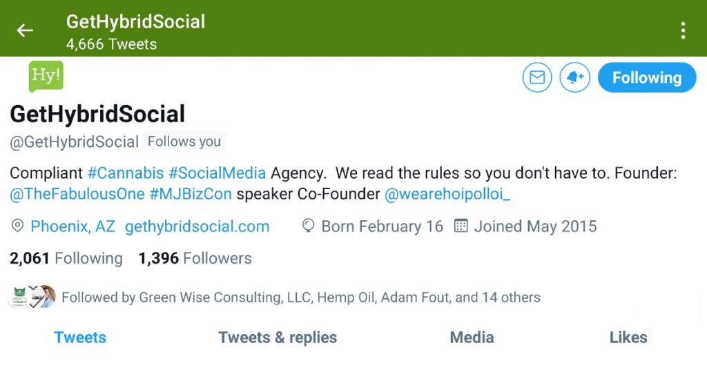 Get Hybrid Social Twitter banner - why you need to use Twitter if you are in the Cannabis Industry