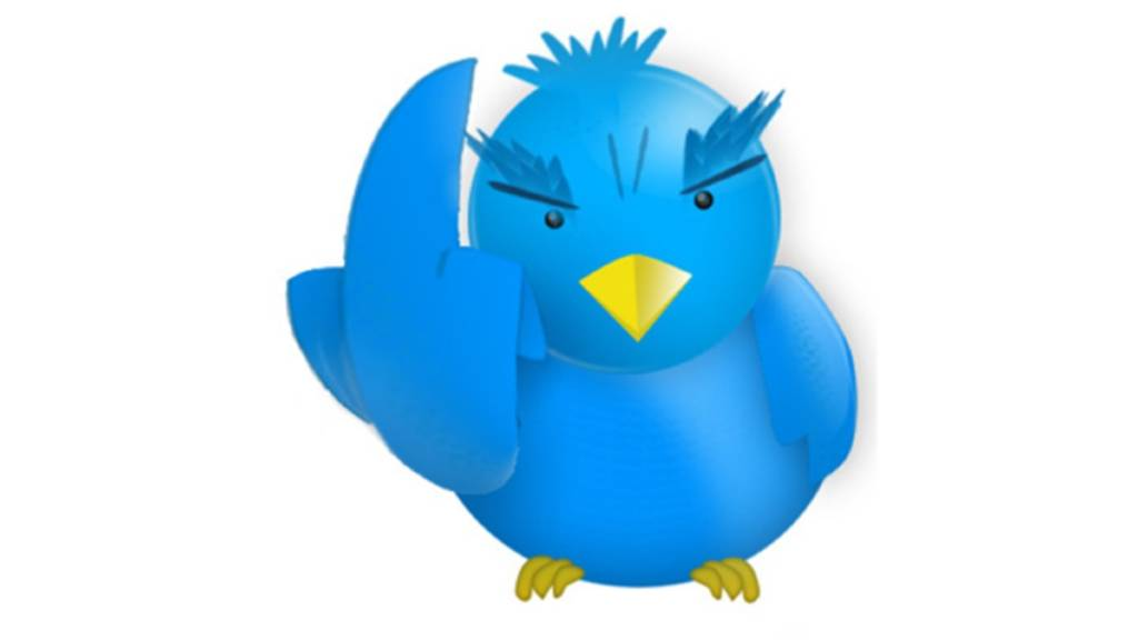 Blue cartoon bird giving the middle feather